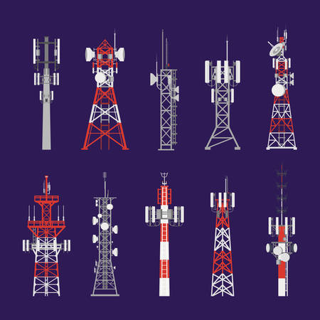 Illustration pour Radio masts and telecommunication towers and satellite signal antenna transmitters, vector icons. Different types of telecom transmitter towers, television and radio waves broadcasting antenna poles - image libre de droit