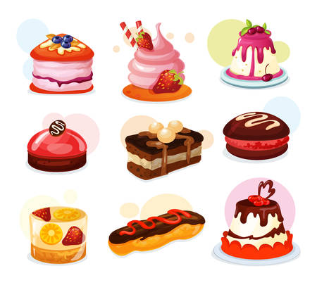 Illustration for Set of isolated cake piece or biscuit with strawberry, jelly with lemon fruit, pie with candy sticks and cream and icing. Bakery and confectionery, birthday and holiday, dessert and celebration,sweets - Royalty Free Image