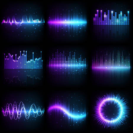 Illustration pour Sound wave, music audio equalizer with frequency pattern, vector different shapes. Abstract music sound wave of purple and blue neon light colors, electronic amplifier and beat record spectrum graphic - image libre de droit