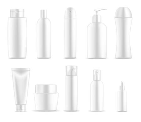 Illustration pour Cosmetic package containers and white plastic bottles, vector blank ed, realistic mockups. Skincare package cream tubes and body lotion, shaving foam or shower gel and liquid soap with dispenser - image libre de droit