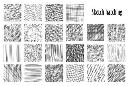Illustration pour Sketch hatching patterns, abstract hand drawn vector backgrounds. Linear pencil sketch and doodle patterns, crossed, wavy and parallel lines, hatch sketching graphic texture - image libre de droit