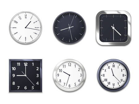 Illustration pour Realistic wall clocks with modern clockface round and square isolated mockup models. Wall clock modern dial clockfaces of silver metal or plastic with hour and minute arrows, Arabic and Roman numbers - image libre de droit