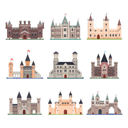 Illustration pour Set of isolated vector medieval castle with tower - image libre de droit