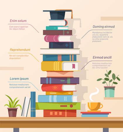 Illustration pour Books and graduation cap, education infographics vector - image libre de droit