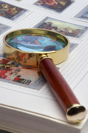 Magnifier and album for stamps