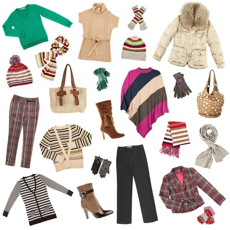 Winter warm lady's clothes on a white background