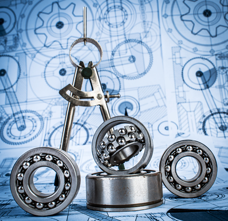 Photo pour Technical drawings with the Ball bearings a blue toning - image libre de droit