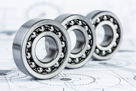 Photo pour Technical drawings with the Ball bearings - image libre de droit