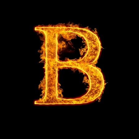 Fire alphabet letter B isolated on black background.