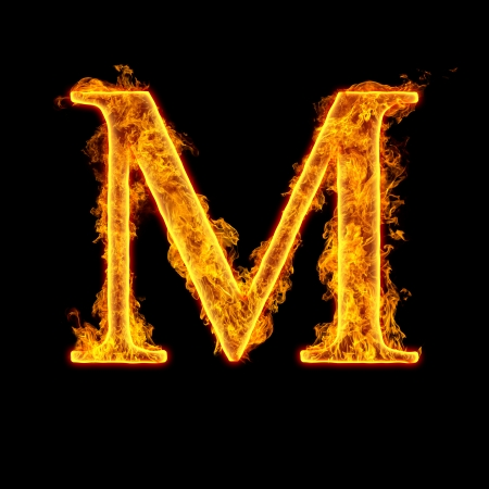 Fire alphabet letter M isolated on black background.