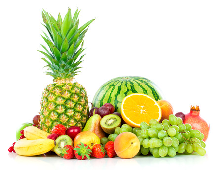 Foto de Assortment of exotic fruits isolated on white - Imagen libre de derechos
