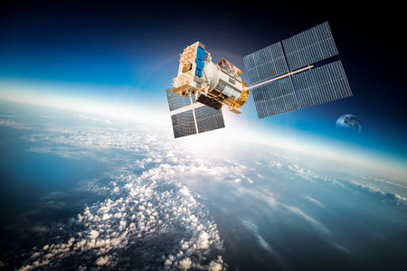 Space satellite orbiting the earth.