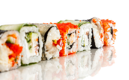 Tasty food. Sushi Roll on a white background