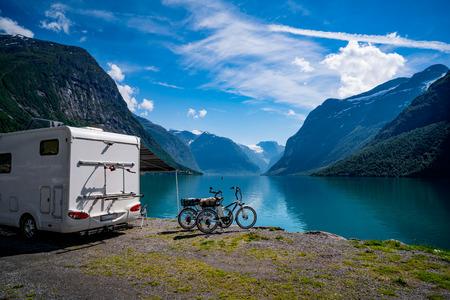 Photo pour Family vacation travel, holiday trip in motorhome, Caravan car Vacation. Beautiful Nature Norway natural landscape. - image libre de droit