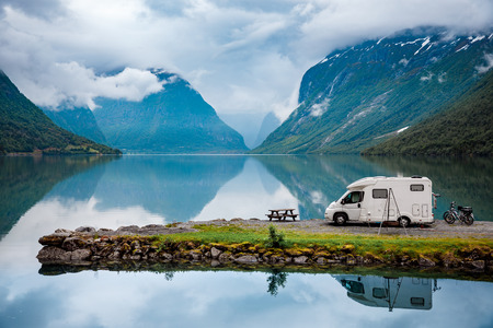 Photo pour Family vacation travel, holiday trip in motorhome, Caravan car Vacation. Beautiful Nature Italy natural landscape Alps. - image libre de droit
