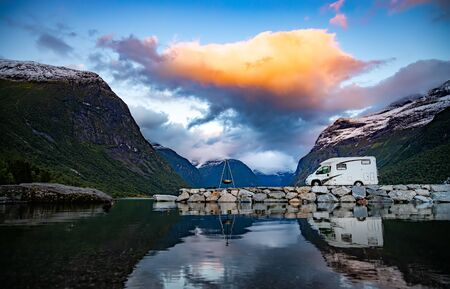 Photo pour Family vacation travel RV, holiday trip in motorhome, Caravan car Vacation. Beautiful Nature Norway natural landscape. - image libre de droit