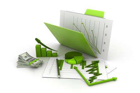 Foto de Folder with business chart, graph and money - Imagen libre de derechos