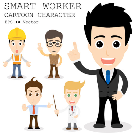 Ilustración de Smart worker cartoon character   - Imagen libre de derechos