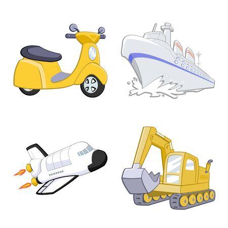 Illustration pour Cute transportation on white background illustration - image libre de droit