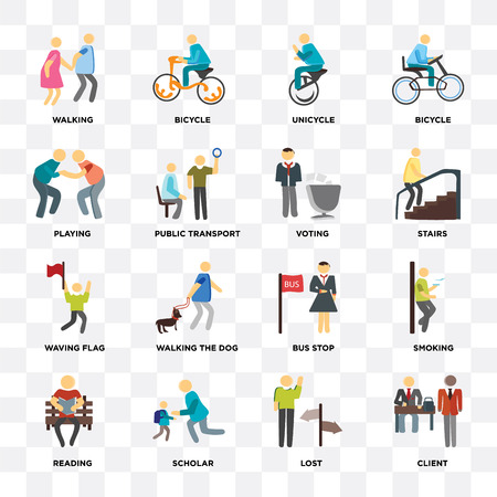 Illustration pour Set Of 16 icons such as Client, Lost, Scholar, Reading, Smoking, Walking, Playing, Waving flag, Voting on transparent background, pixel perfect - image libre de droit