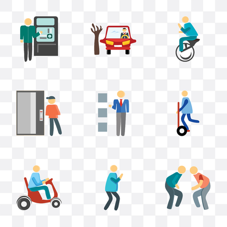 Set Of 9 simple transparency icons such as Fighting, Photo, Scooter, Segway, Lockers, Elevator, Unicycle, Parking, Ticket machine, can be used for mobile, pixel perfect vector icon pack on