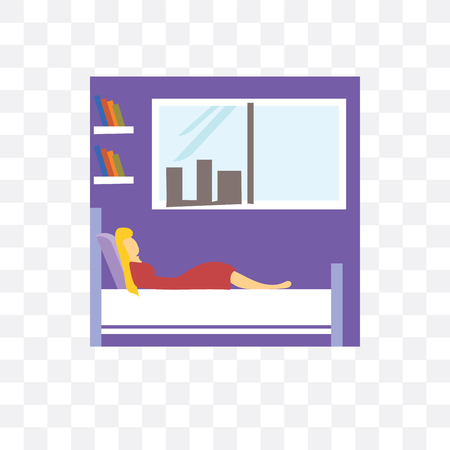 Girl sleeping in the bed vector icon isolated on transparent background, Girl sleeping in the bed logo concept