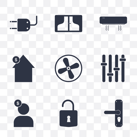 Set Of 9 simple transparency icons such as Handle, Unlock, Seller, Panel, Fan, House, Air conditioner, Window, Plug, can be used for mobile, pixel perfect vector icon pack on transparent background