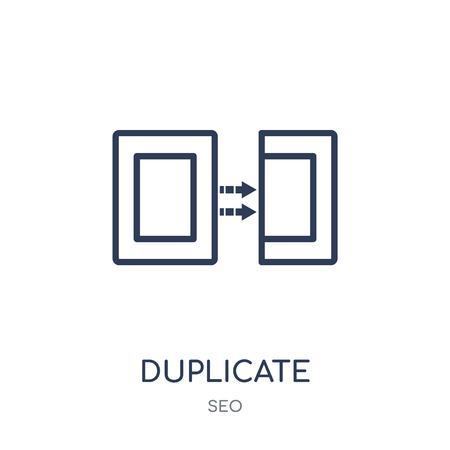Illustration pour Duplicate icon. Duplicate linear symbol design from SEO collection. Simple outline element vector illustration on white background. - image libre de droit