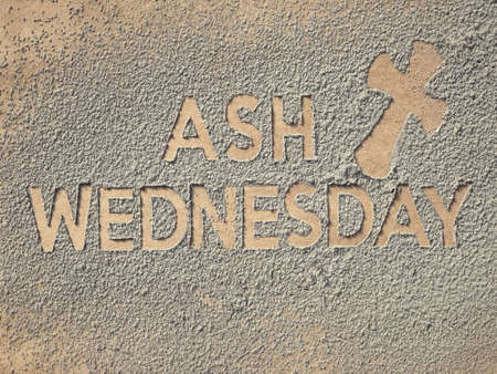 Photo for Ash Wednesday concept - Ash Wednesday words and a cross formed out of ashes. - Royalty Free Image