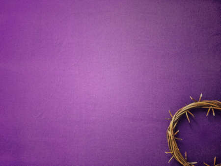 Photo for Good Friday, Lent Season and Holy Week concept - A woven crown of thorns on purple background. - Royalty Free Image