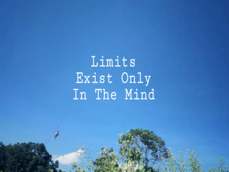 Photo pour Motivational and inspirational wording - Limits Exist Only In The Mind. Blurred styled background. - image libre de droit