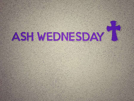 Photo for Ash Wednesday, Lent Season and Holy Week concept. Ash Wednesday wording and Christian Holy cross shape on background of scattered ashes. - Royalty Free Image