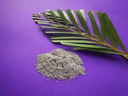 Photo for Good Friday, Palm Sunday, Ash Wednesday, Lent Season and Holy Week concept.  Ashes and palm leaves on purple background. - Royalty Free Image