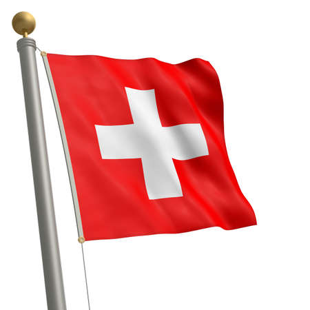 The flag of Switzerland fluttering on flagpole