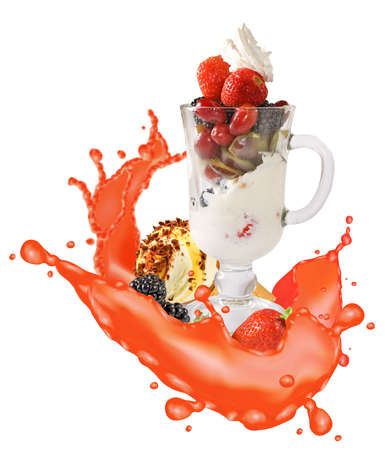 image of ice cream, fruit and splashes of juice close-up