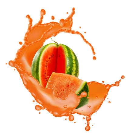 image of watermelon and splashes of juice closeup