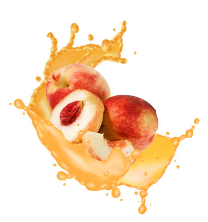 image of peach and splashes of juice close up
