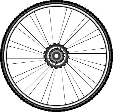 Bike wheel illustration isolated on white background