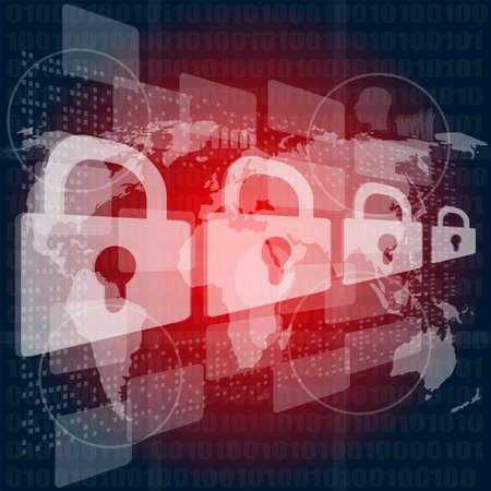 Photo pour Security concept: Lock on digital screen, contrast - image libre de droit