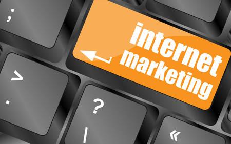 online marketing or internet marketing concepts, with message on enter key of keyboard key, vector illustration