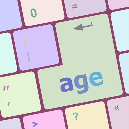 age keyboard key button showing forever young concept vector illustration