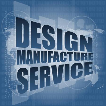 Illustration pour design manufacture service words on digital binary touch screen vector illustration - image libre de droit