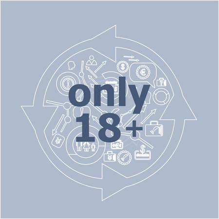 Photo pour Text Only eighteen plus. Social concept . Icon and button set - image libre de droit