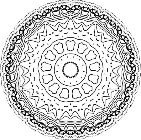 Illustration pour Mandala isolated on white background. Abstract pattern vector illustration. Retro black and white texture. Ornamental diwali pattern. - image libre de droit