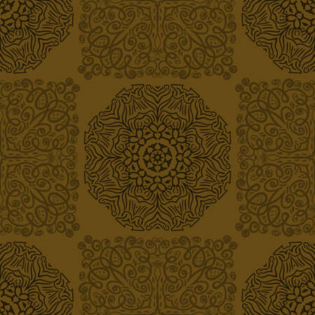 Illustration pour Seamless abstract pattern. Hand drawn vector background. Trendy seamless mandala, fabric texture, wrapping. - image libre de droit