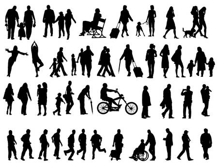 Photo for Another over fifty people black silhouettes on white background. Vector illustration. Walking families, friends, dancers,children and guys. - Royalty Free Image