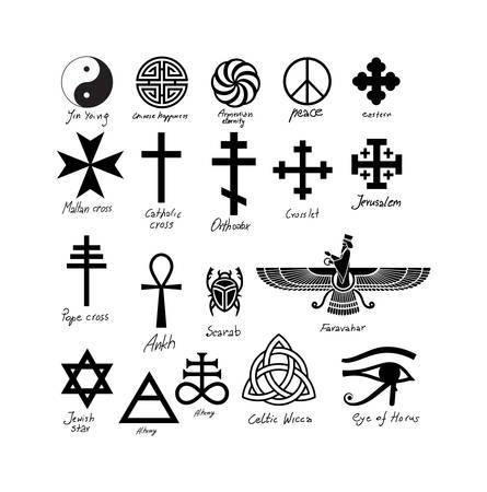 Vektor für Almost twenty vector signs. From egyptian ancient till more recent. European, oriental and from Egypt and ancient Persia. - Lizenzfreies Bild