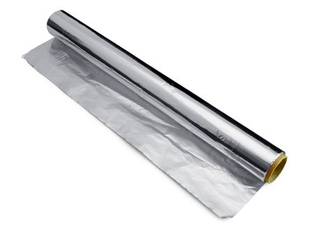 aluminium  foil roll for wrapping and cooking food isolated on white