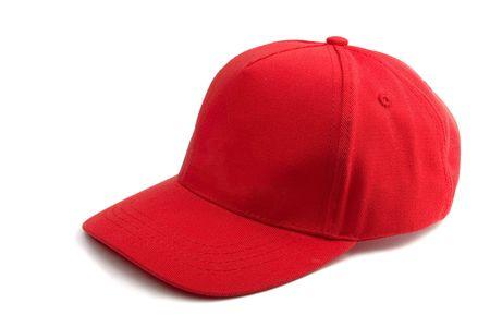 Foto de Red Baseball Cap isolated on white - Imagen libre de derechos