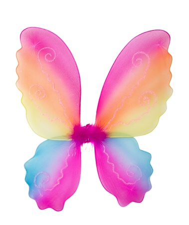 Toy pink fairy wings isolated on white